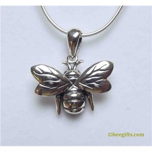 127313 300x300 Flying Bee Pendant & Chain in Silver