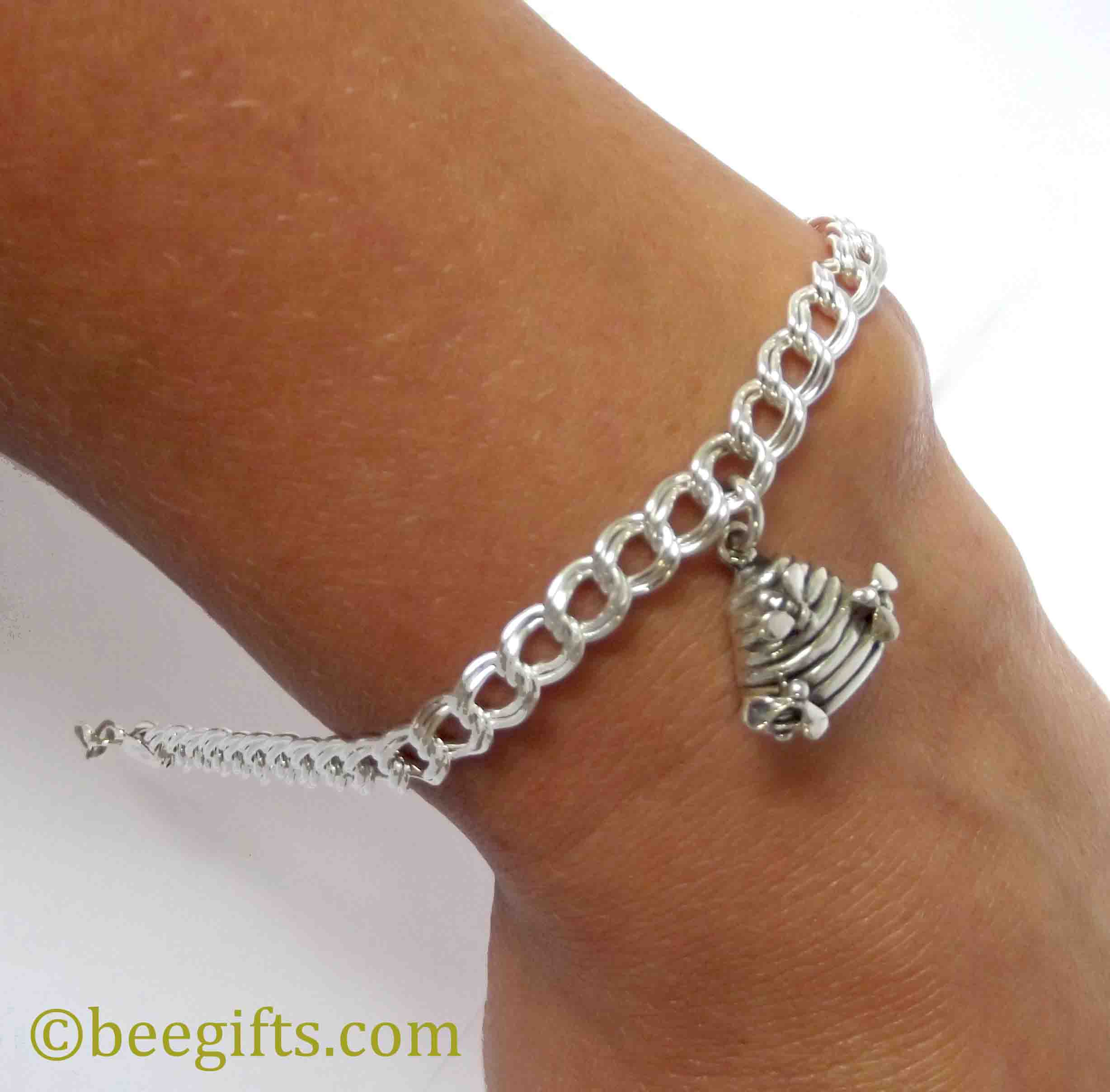 silver skep charm bracelet with bees bj sherriff