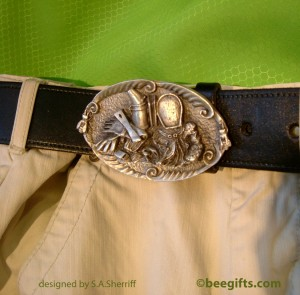 Belt buckle on trouser USE watermarked 300x295 Beekeepers Pewter Belt Buckle