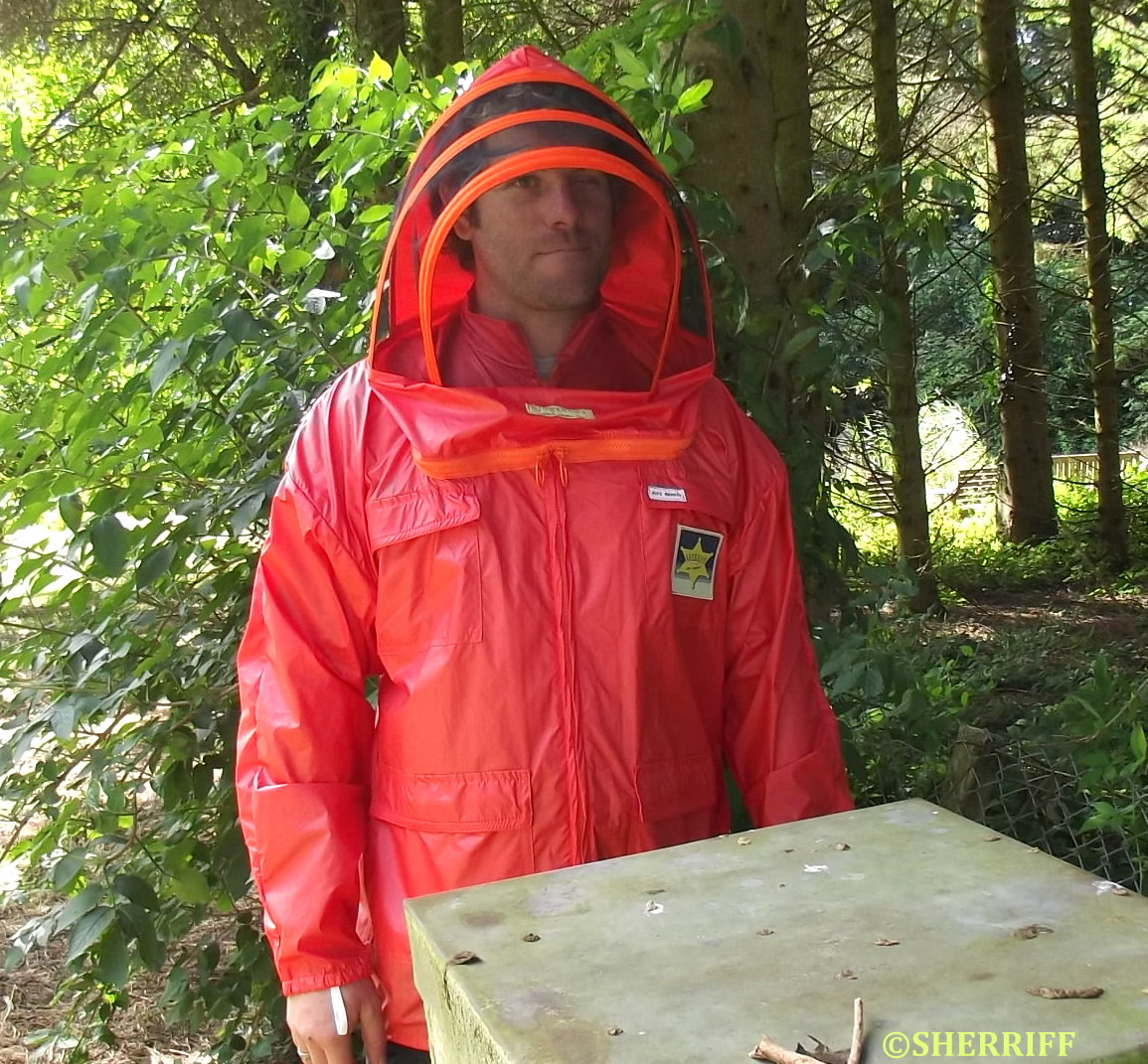 S61. FRONT VIEW WITH HIVE. HOOD UP.Cropped Watermkd. MAIN USE
