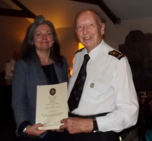 BRIAN RECEIVING 15 YEAR COAST WATCH AWARD with Daphne Skinnard Radio Cornwall  02 SEPT-2013 crop
