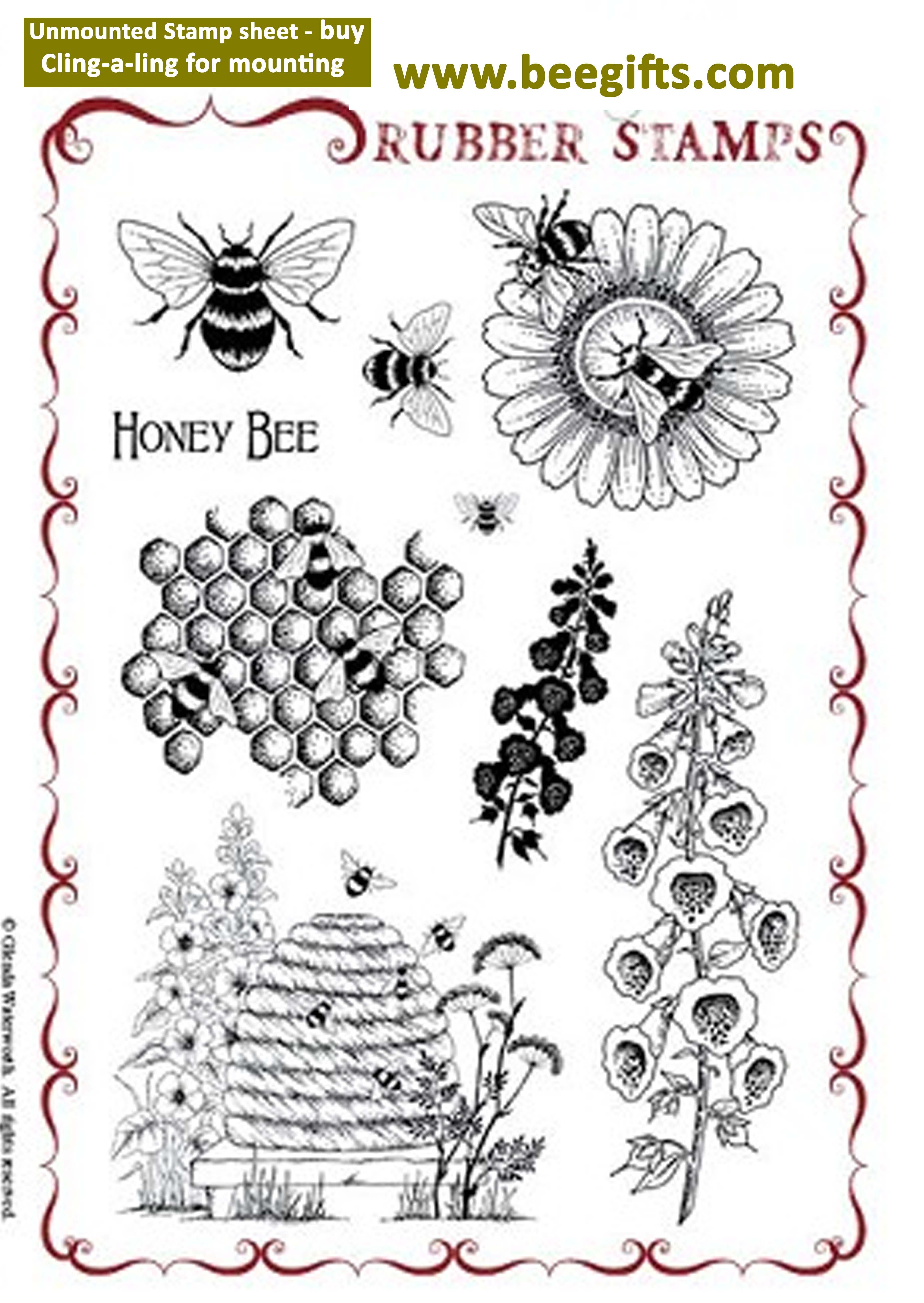 Honey Bee Rubber stamp sheet - unmounted copy