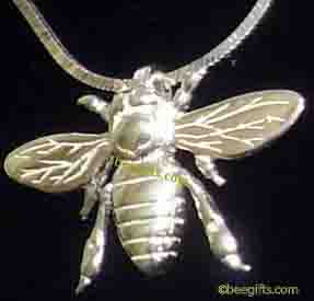 Honey Bee Silver Necklace with silver chain-WATERMARKED-USE-USE -USE