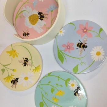 Coaster set in ceramic and container