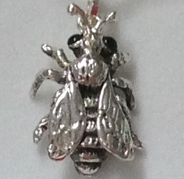 Onyx eyed silver bee  charm.